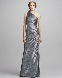 laundry by shelli segal laundry by shelli segal metallic oneshoulder beaded side gown in
