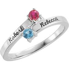 mothers rings white gold gold 1 to 4 stones names engravable ring