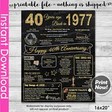40 year anniversary gift ideas 40th anniversary gift instant 40th by kidspartyprintables