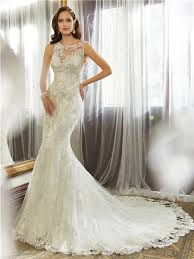 mermaid bateau neckline keyhole backless lace wedding dress with