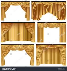 set gold luxury curtains draperies on stock vector 641178817