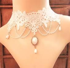white lace choker necklace images Best vintage handmade white lace choker necklace with jewelry jpg