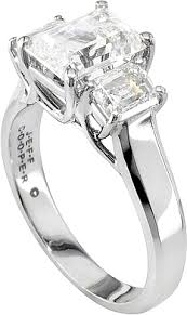 three emerald cut engagement rings jeff cooper three emerald cut trellis engagement ring 3167