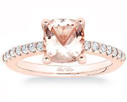 morganite engagement ring gold morganite cushion cut engagement ring with pave band