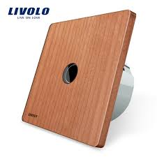 touch screen wall light switch livolo new type touch switch cherry wood panel natural style 220
