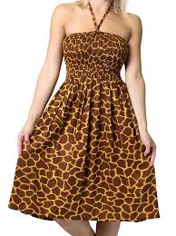 one size fits most tube dress coverup with animal print giraffe