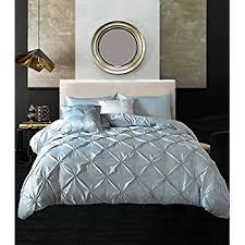 Silk Duvet Set Amazon Com Meila 3 Piece Pinch Pleat Pintuck Design Luxury Soft