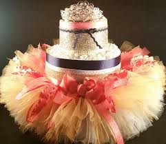 2 tier coral u0026 navy princess diaper cake w gold tiara tutu