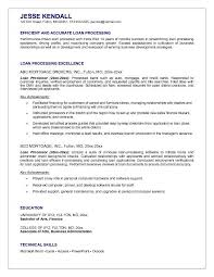 an exle of a resume for a mortgage loan processor resume exle resume sles