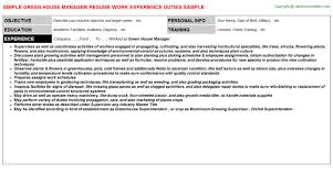 House Manager Resume Sample by Green House Manager Job Title Docs