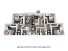 the bryn luxury student apartments near penn state in pa floor plan of a 4 bed 2 bath student apartment