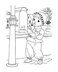 kid mailing santa winter christmas present coloring