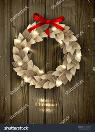 christmas wreath made paper leaves eco stock vector 121128748