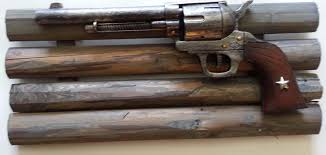 western home decor rustic pistol on wooden frame farm house ranch