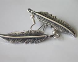 silver feather earrings silver feather earrings etsy