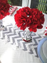 Grey Chevron Table Runner Creative Idea Bright Red Table Focal Pints Feat Silver Vase And