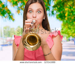 blowing trumpet stock images royalty free images vectors