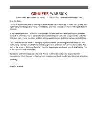 Sample Lawyer Cover Letter Cover Letter For Secretary Cover Letter Database