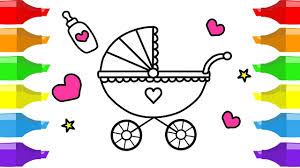 draw baby carriage colouring book kids learning