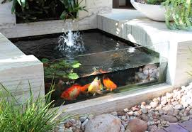 marble floor and small square backyard pond ideas in glass side