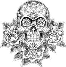rose flowers and mexican skull tattoo design tattoos pinterest