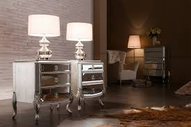pair of modern mirrored nightstand with 3 drawers and metal legs