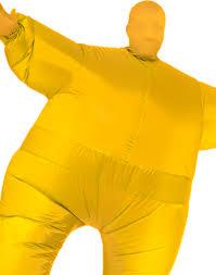 Sumo Halloween Costume Inflatable Yellow Blow Fat Suit Funny Mens Sumo Halloween