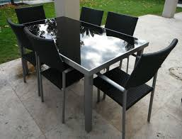 Glass Top Patio Table And Chairs Outdoor Furniture Table Chairs Aluminium Frame With Black Glass