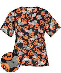 ua pumpkin patch black print scrub top halloween print scrubs