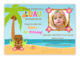 luau hula birthday party photo card invitation you print