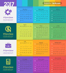 Calendar 2018 Ai Template Colorful 2017 Calendar Vector Free Cdrai