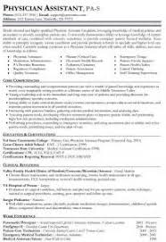 physician assistant resume format physician assistant resume
