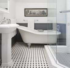 contemporary black and white floor tile bathroom black and white