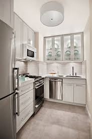 Space Saving Appliances Small Kitchens Curved Corner Small Kitchen Design With White Porcelain Countertop