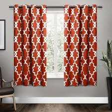 Orange And White Curtains 63 Inch Mecca Orange White Moroccan Curtains Panel Pair Set