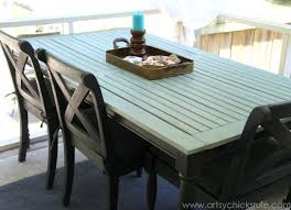 rescued patio table re do duck egg blue chalk paint graphite