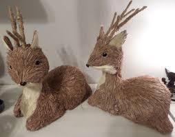 deer home decor 2 deer w horns natural woodland creatures winter home decor fall