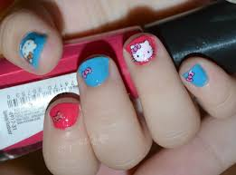my nail graffiti hello kitty stickers on toddler nails