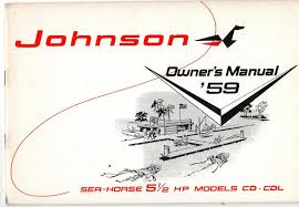 vintage 1959 johnson sea horse 5 1 2 hp outboard owners manual cd