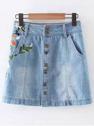 denim skirts floral embroidery pockets denim skirt light blue skirts s zaful