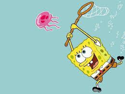 download spongebob hunting jellyfish cartoon wallpaper animated