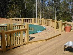 Big Ground Pool Decks Lounge Wood Deck Fence DMA Homes