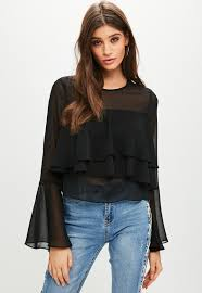 black ruffle blouse black ruffle sheer blouse missguided