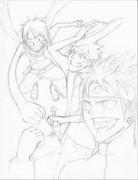 natsu naruto and luffy sketch by idont0know on deviantart