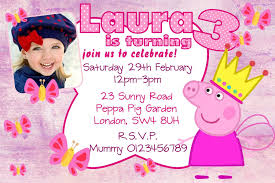 Happy Christening Invitation Card 10 Personalised Pink Peppa Pig Birthday Party Invitations