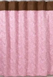 Kids Fabric Shower Curtain - pink and brown paisley kids bathroom fabric bath shower curtain