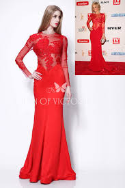 sheer long sleeve red lace and satin samara weaving mermaid long