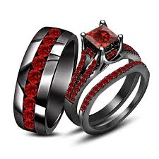 his and hers engagement rings beautiful princess rd cut garnet black gold finish 925 silver