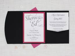 pocket fold bright pink white and black pocketfold wedding invitation be my