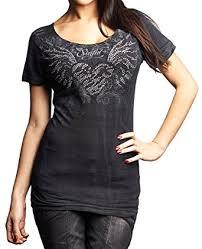 affliction sinful women shirt short sleevs heart rose wings cross